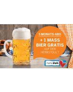 1-Monats-Abo mit Gutschein für 1 Maß Bier